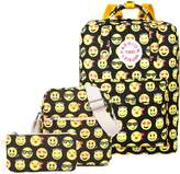 Tibes Canvas Lovely Emoji Backpack for High School Student Yellow