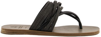 Brunello Cucinelli Low Sandals Riding Calfskin Sandals With Precious Straps