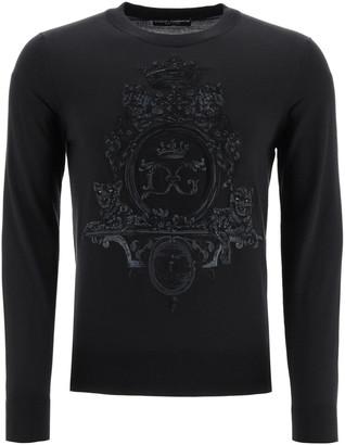 Dolce & Gabbana Wool Sweater With Heraldic Embroidery