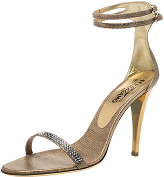 Salvatore Ferragamo Gold Snakeskin Tirosana Ankle Strap Sandals Size 40.5