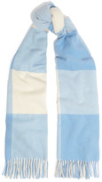 Acne Studios Vichy Fringed Checked Wool Scarf - Sky blue
