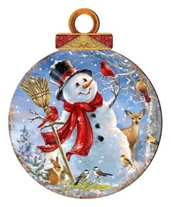 Designocracy by Dona Gelsinger Frosty Forest Friends Ornament, Set of 2