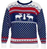 Crazy Girls Ladies Raindeer Fairisle Retro Christmas Knitted Jumper Sweater