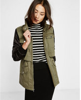 Express flight satin sleeve layered twill parka