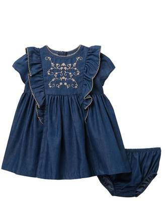 Gerson & Embroidered Chambray Dress (Baby Girls)