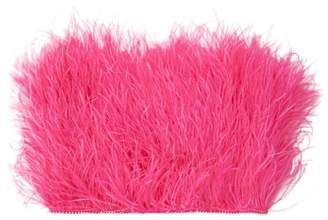 ATTICO The Faux Pearl-trimmed Ostrich Feather Top - Womens - Fuchsia