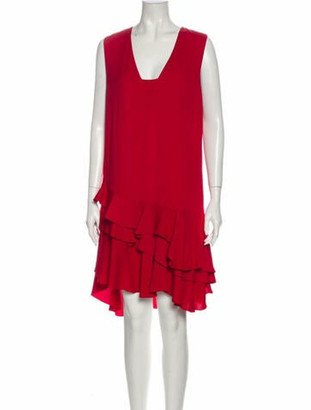 Lanvin Square Neckline Knee-Length Dress Red