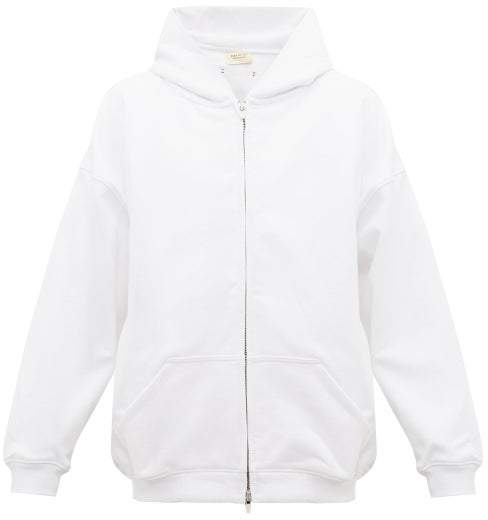 Fear Of God Zipped Cotton-jersey Hooded Sweatshirt - Mens - White