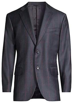 Isaia Windowpane Suit Jacket