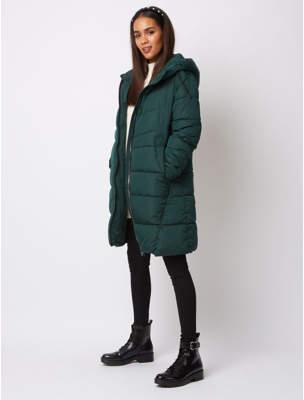 George Dark Green Hooded Padded Longline Coat
