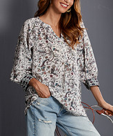 Luukse Women's Blouses 109IVORY - Ivory & Red Paisley Floral Notch Neck Relaxed-Fit Tunic - Women & Plus