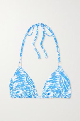 Melissa Odabash Cancun Printed Triangle Halterneck Bikini Top - Light blue