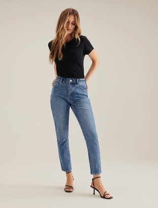Forever New Isabel Mid-Rise Straight Jeans - Cali Blue - 10