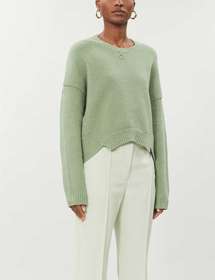 Cropped cotton-blend knitted jumper