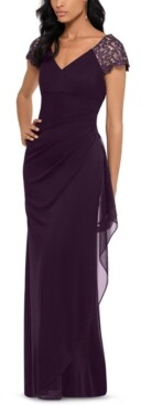 Xscape Evenings Lace-Sleeve Chiffon Gown