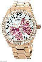 Betsey Johnson Women's Pink Butterfly Dial Rose Gold-tone Bracelet Watch BJ00498-03