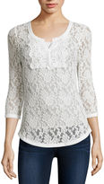 Almost Famous 3/4-Sleeve Lace Henley Top - Juniors