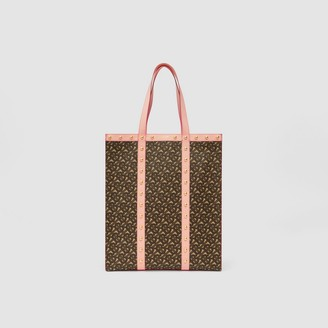 Burberry Monogram Print E-canvas Portrait Tote Bag
