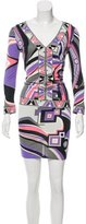 Emilio Pucci Long Sleeve Geometric Print Dress