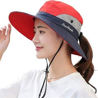 Fueerton Women's Wide Brim Outdoor UV Protection Foldable Mesh Beach Sun Hat Fishing Cap (Pink)