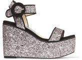 Jimmy Choo ABIGAIL 100 Lilac and Black Glitter Fabric and Grosgrain Wedge Sandals