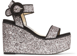 Jimmy Choo ABIGAIL 100 Lilac and Black Glitter Fabric and Grosgrain Wedge Sandals
