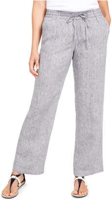 Charter Club Linen Drawstring-Waist Pants