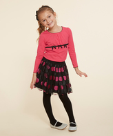 Dollie & Me Fuchsia & Black Dot Skirt Set & Doll Outfit - Girls
