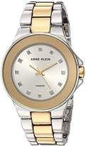 Anne Klein Women's AK/2755SVTT Diamond-Accented Two-Tone Bracelet Watch