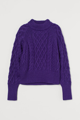 H&M Cable-knit Sweater - Purple