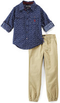 English Laundry Navy Star Button-Up & Khaki Joggers - Infant, Toddler & Boys