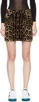 Dolce & Gabbana Multicolor Leopard Corduroy Miniskirt