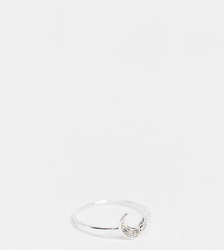 Kingsley Ryan ring in sterling silver with pave crescent moon