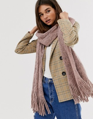 ASOS DESIGN long tassel scarf in supersoft knit