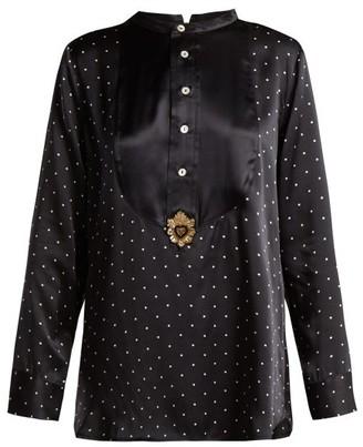 Figue Milagro Polka Dot-print Silk-satin Shirt - Womens - Black