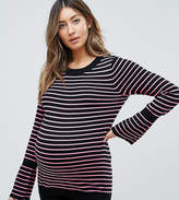 Asos Jumper With Stripe And Fluted Sleeve