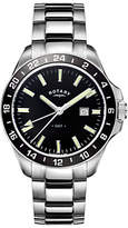 Rotary GB05017/04 Men's Havana Date Bracelet Strap Watch, Silver/Black