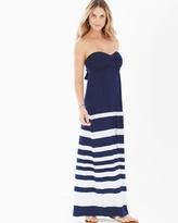 Soma Intimates Bandeau Maxi Dress Crossover Stripe Navy TL