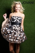 Jovani Polka Dot Strapless A-line Short Dress 90415