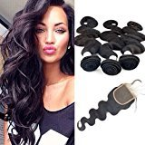 Echo Beauty Unprocessed Peruvian Body Wave Remy Virgin Human Hair Weave Pack of 3 with Free Part Lace Closure Natural Color(16 18 20+14inch Closure)