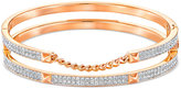 Swarovski Rose Gold-Tone Pavé Double Stacked Bangle Bracelet