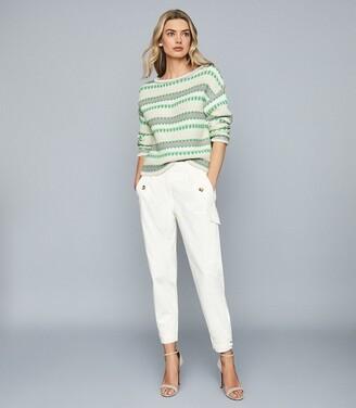 Reiss Anna - Pastel Stripe Knitted Jumper in Green/white