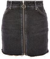 Topshop Moto zip a-line denim skirt