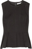 Alexander Wang Pleated Cotton-jersey Peplum Top - Black