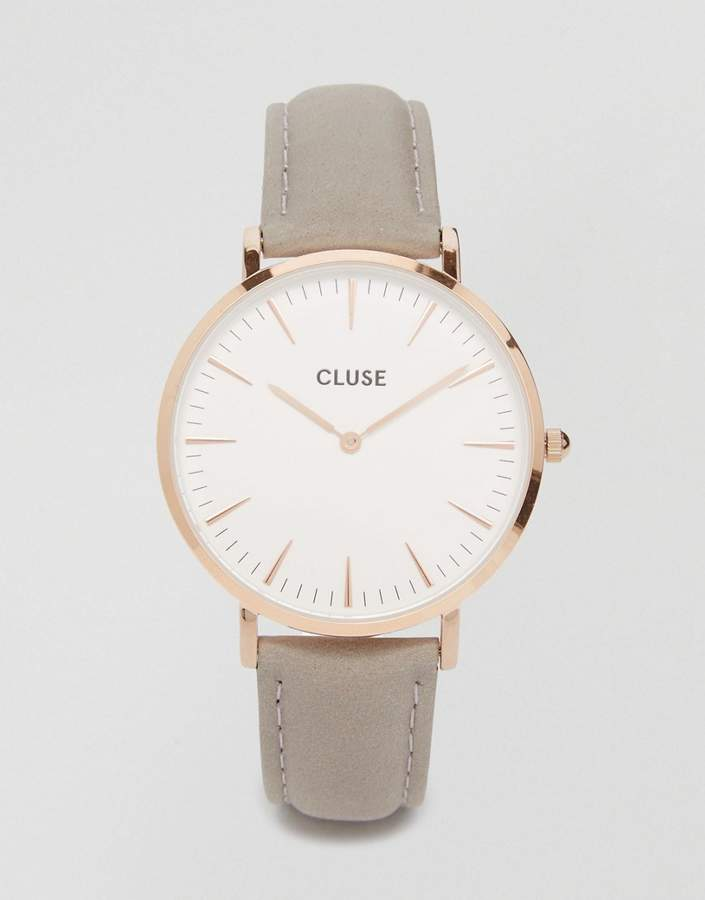 Cluse Cl18015 La Boheme Rose Gold And Grey Leather Watch