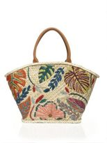 Tory Burch Leaf-Embroidered Straw Tote