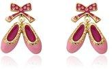 """Little Miss Twin Stars """"Ballet Beauty"""" 14k Gold-Plated Pink Enamel Ballet Shoes Earrings"""