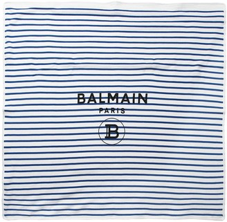 Balmain Striped Double Cotton Knit Blanket