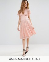 Asos TALL Flutter Sleeve Lace Skater Dress