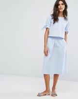 MANGO Gingham Midi Skirt